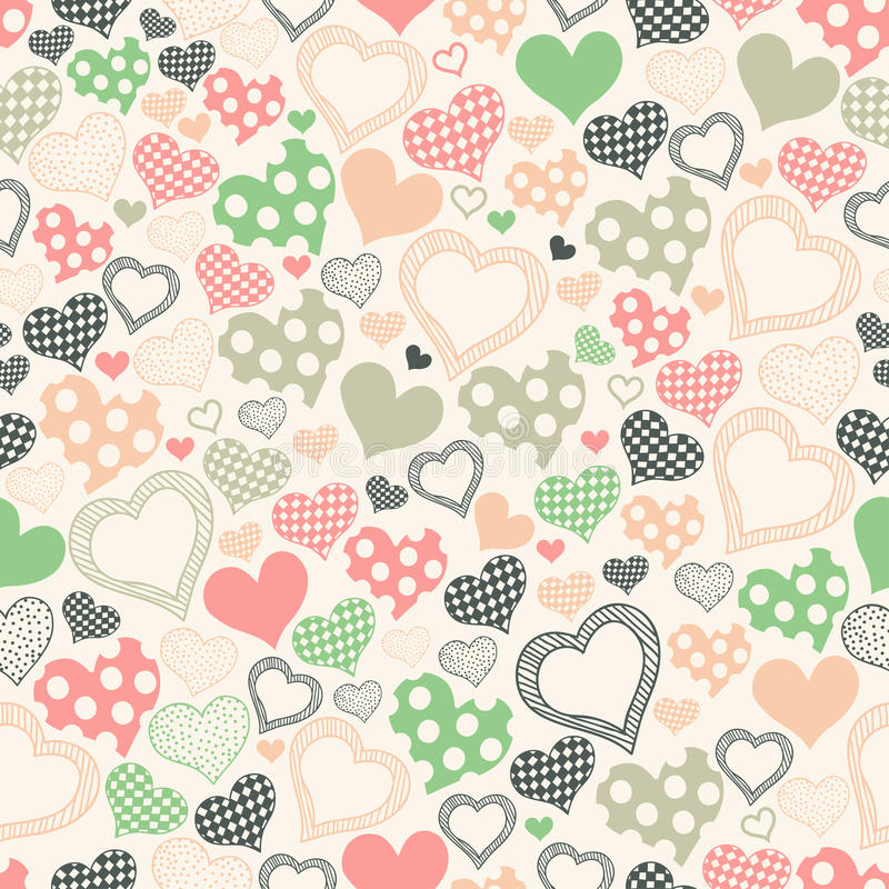 Download Seamless Pattern With Hearts On A Light Background Stock Vector
