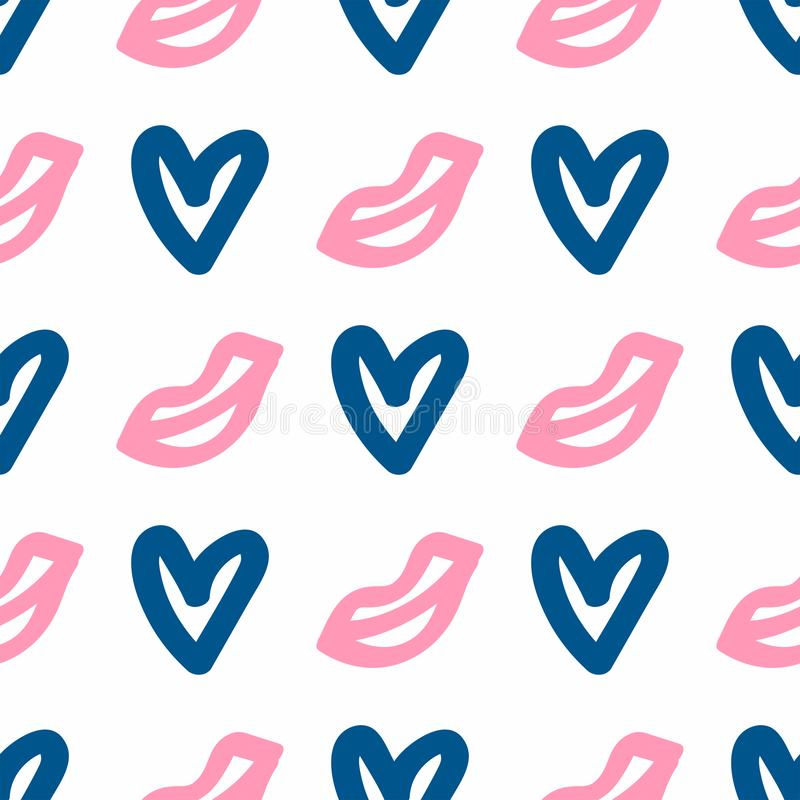 Seamless pattern with hearts and lips drawn by hand. Doodle, sketch. Girl vector illustration stock illustration