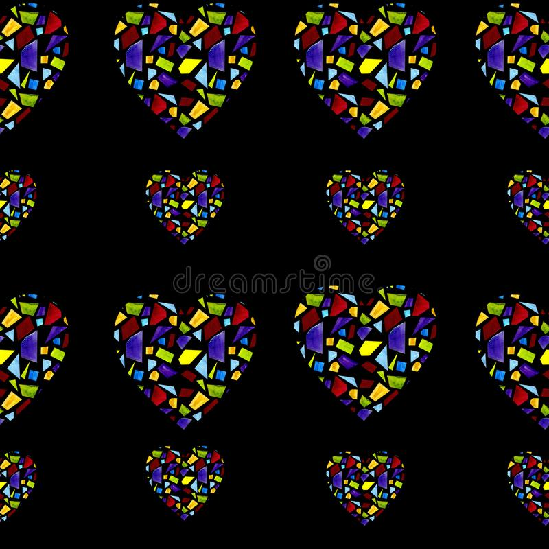 Seamless pattern with hearts made of stained glass on black background. Seamless design with hearts made of stained glass on black background vector illustration