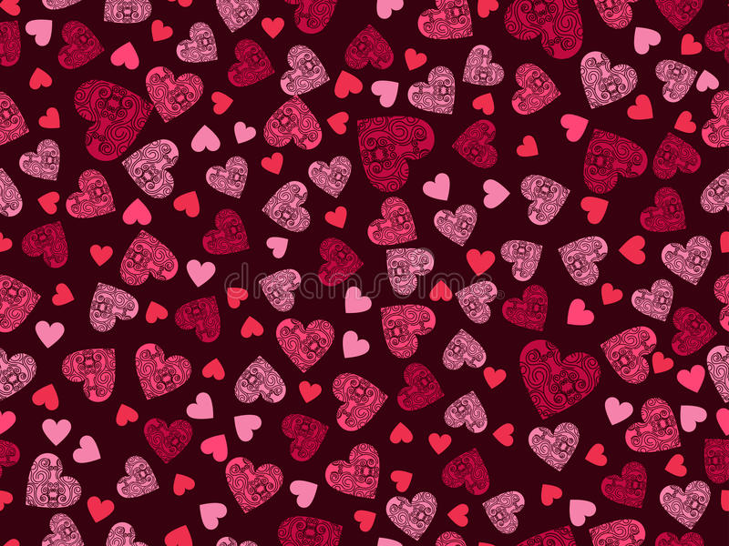 Seamless pattern with hearts and ornament on a dark red background. Happy Valentine`s Day. Vector vector illustration