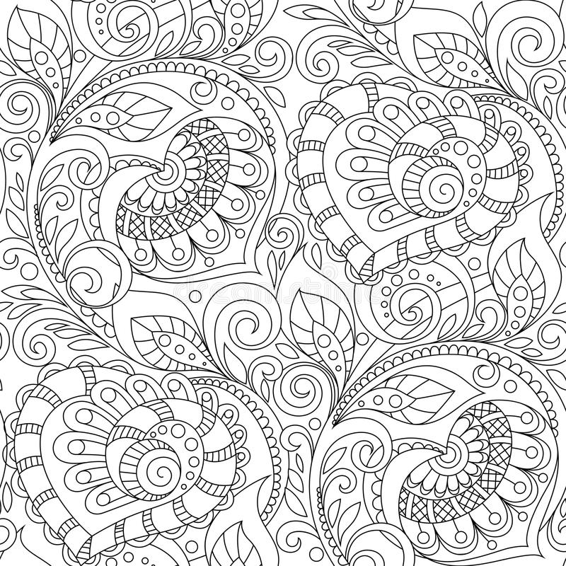 Seamless pattern with hearts ornament. Floral decorative pattern in zentangle style. Adult antistress coloring page vector illustration