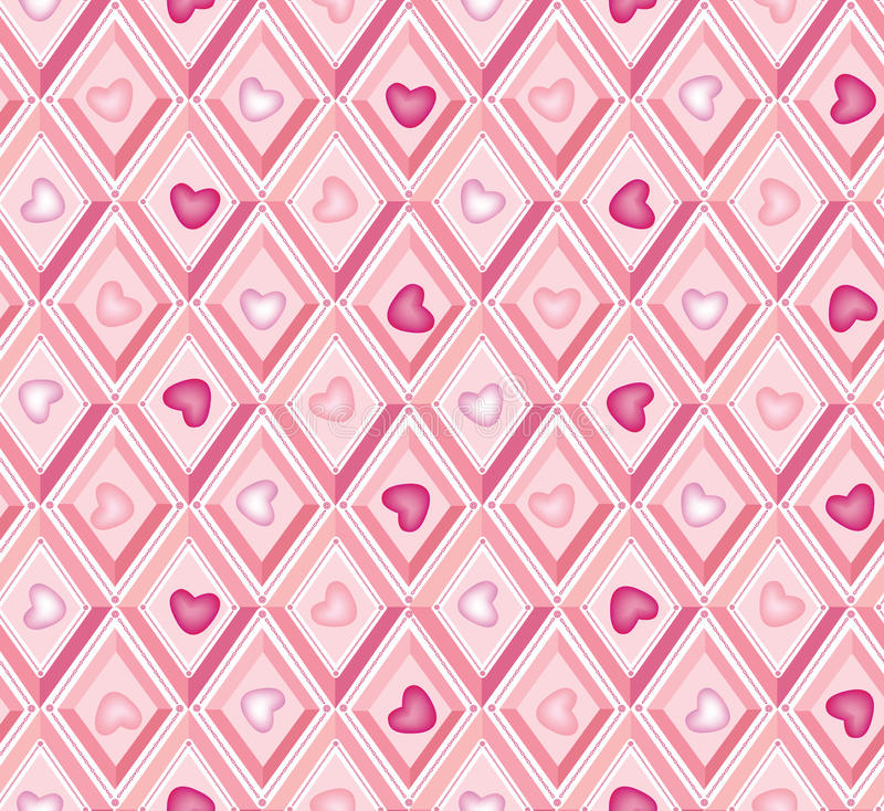 Seamless pattern: hearts and pink diamonds stock illustration