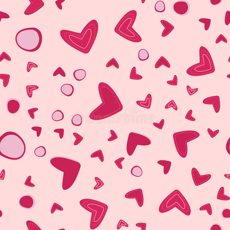 Download Seamless Pattern With Hearts On Pink Stock Vector - Image: 83711270