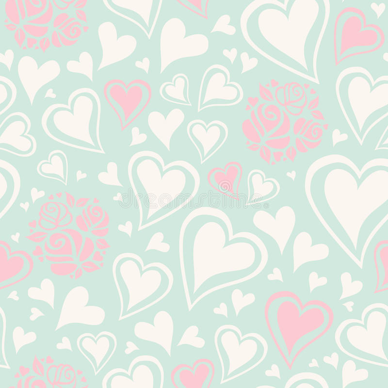 Seamless pattern with hearts and roses. Vector illustration vector illustration