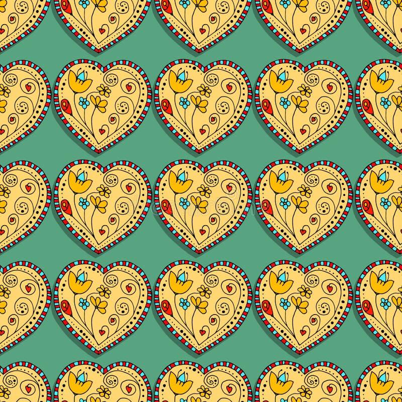 Seamless Pattern Hearts. Seamless Pattern School Sketchy Doodle Design- Hand-Drawn Vector Illustration Background vector illustration