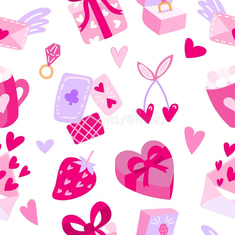 Seamless pattern with hearts and symbols of love. Vector repeating texture Valentine`s Day. Background for greeting stock illustration