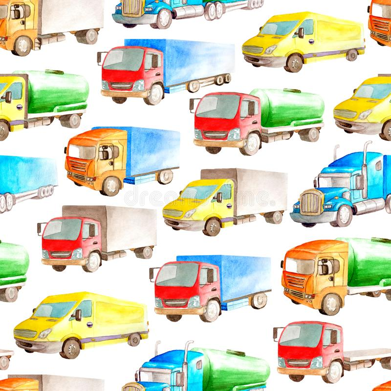 Seamless pattern heavy transport of watercolor trucks and lorries on a white background isolated for textile or fabric or wrapper vector illustration