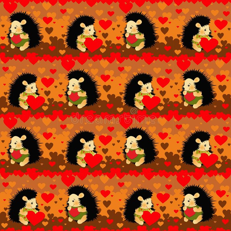 Hedgehogs lovers seamless pattern stock illustration