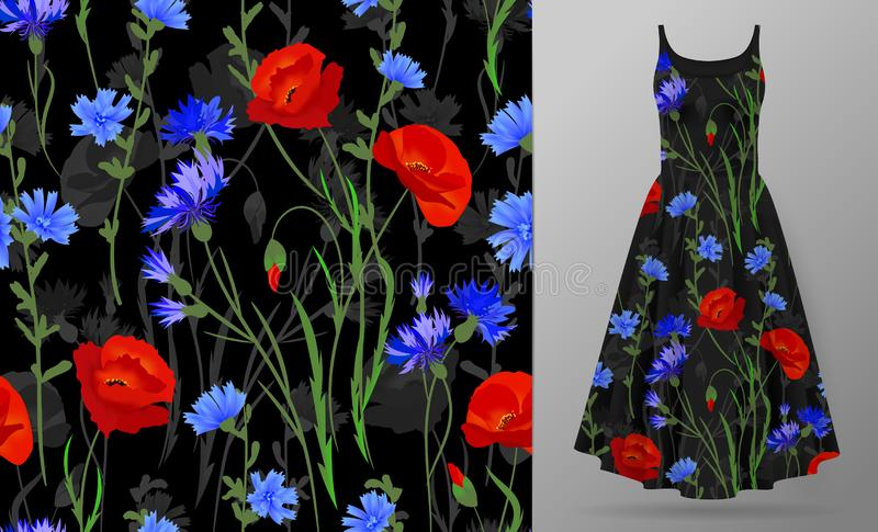 Seamless pattern with Herbs and wild flowers, leaves. Botanical Illustration Colorful illustration on dress mockup. Seamless pattern with Herbs and wild flowers vector illustration