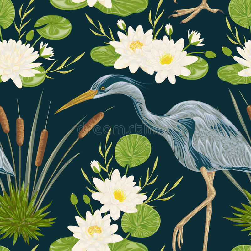 Seamless pattern with heron bird, water lily and bulrush. Swamp flora and fauna. Vintage hand drawn vector illustration in watercolor style stock illustration