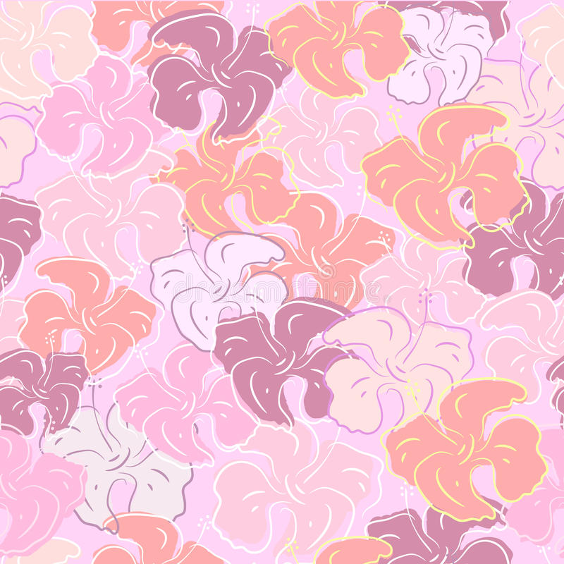Seamless pattern of hibiscus flowers. Floral color art. Seamless pattern of hibiscus flowers. Floral Art stock illustration