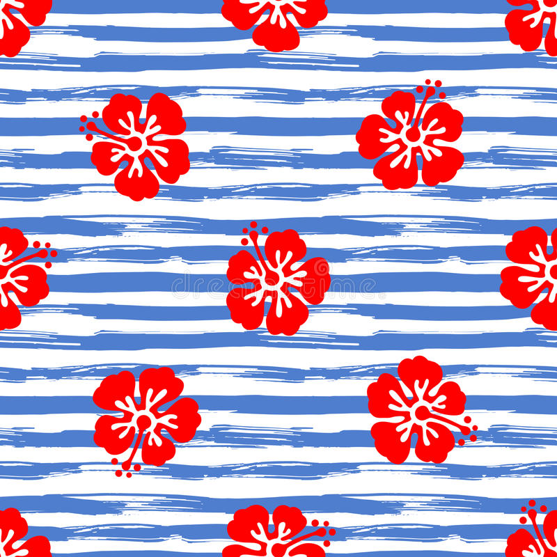 Seamless pattern with hibiscus flowers on striped background. Tropical summer illustration. Vector royalty free illustration
