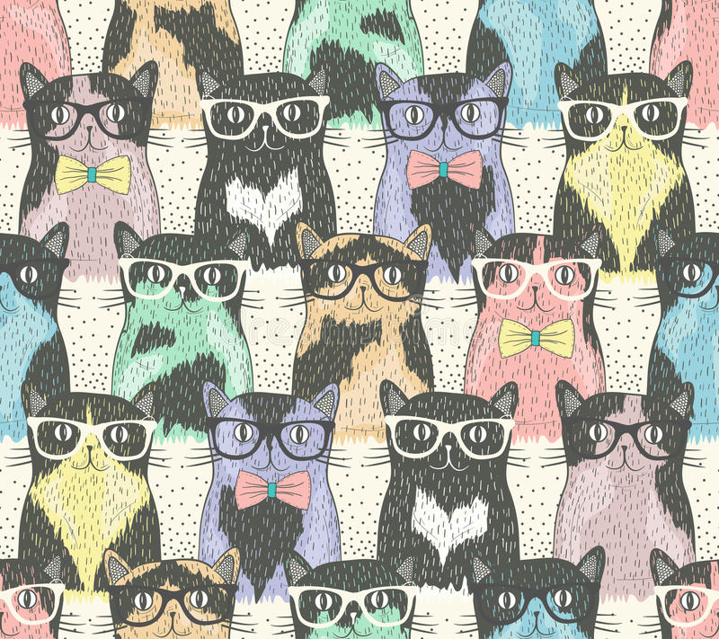 Seamless pattern with hipster cute cats vector illustration
