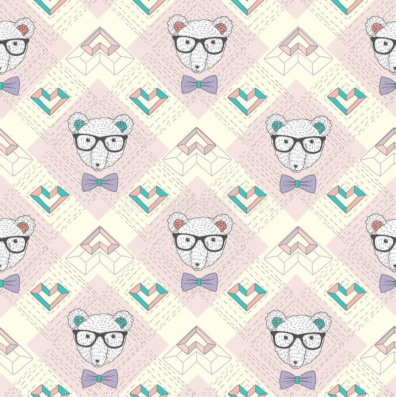 Seamless pattern with hipster polar bear vector illustration