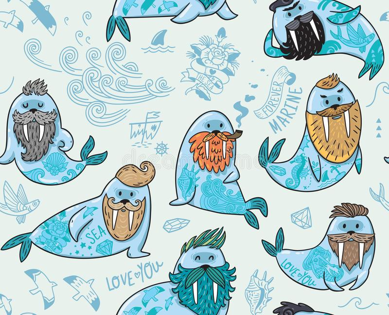 Seamless pattern with hipster walruses with beards and tattoos in cartoon style. Vector illustration. Seamless pattern with cartoon characters of funny walruses royalty free illustration