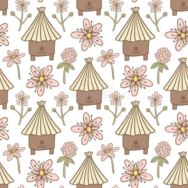 Seamless pattern of the hive and flowers vector illustration