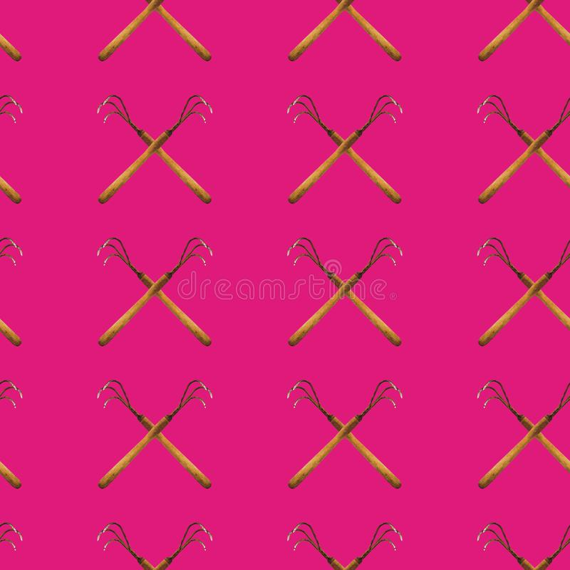Seamless pattern of hoes on a magenta background stock photos
