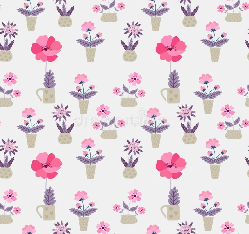 Seamless pattern with home garden cartoon flowers in vector. Print for fabric, paper, wallpaper. Spring design.  stock illustration