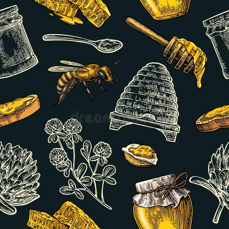 Seamless Pattern with honey, bee, hive, clover, spoon, cracker, honeycomb. vector illustration