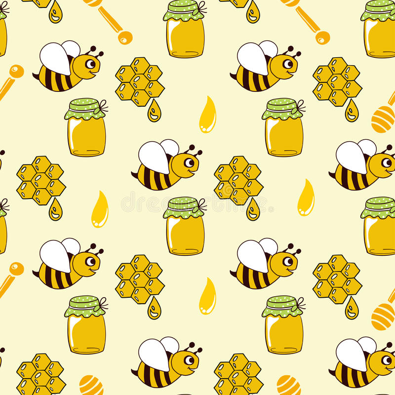 Seamless pattern with honey, bees, honeycomb, drop, honey spoon stock illustration