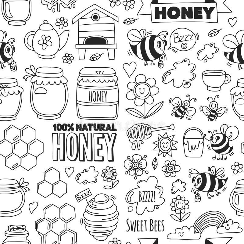 Seamless pattern Honey market, bazaar, honey fair Doodle images of bees, flowers, jars, honeycomb, beehive, spot stock illustration