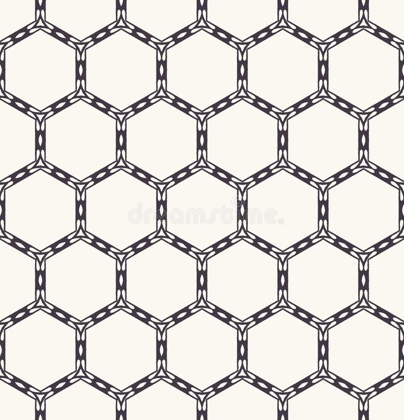Seamless pattern hand drawn honeycomb trellis background. Geometric monochrome cell allover print. Vector geo swatch. Seamless pattern honeycomb trellis stock illustration