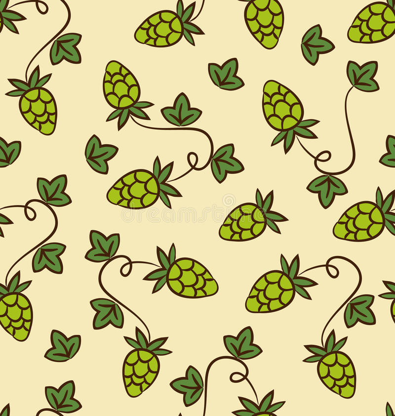 Seamless Pattern Hops Plans for Beer. Seamless Pattern Hops Plans as Part Quality Cooking Beer - vector stock illustration