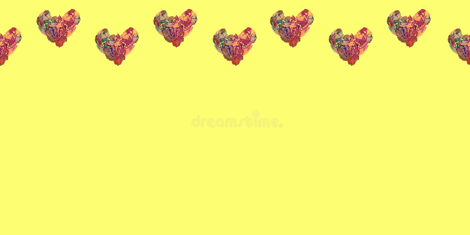 Valentine`s day card.Seamless pattern,horizontal yellow banner with hearts made of iris flowers in wave shape.Copy space vector illustration