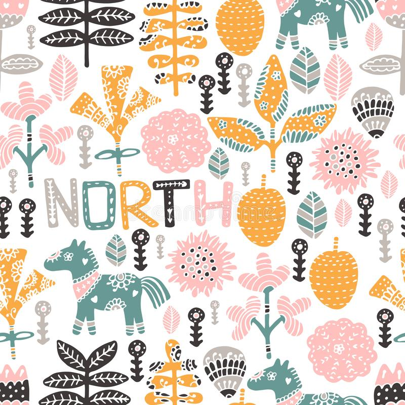 Seamless pattern with horse, flowers and hand-drawn elements. Children`s texture. Great for fabric, textile vector stock illustration