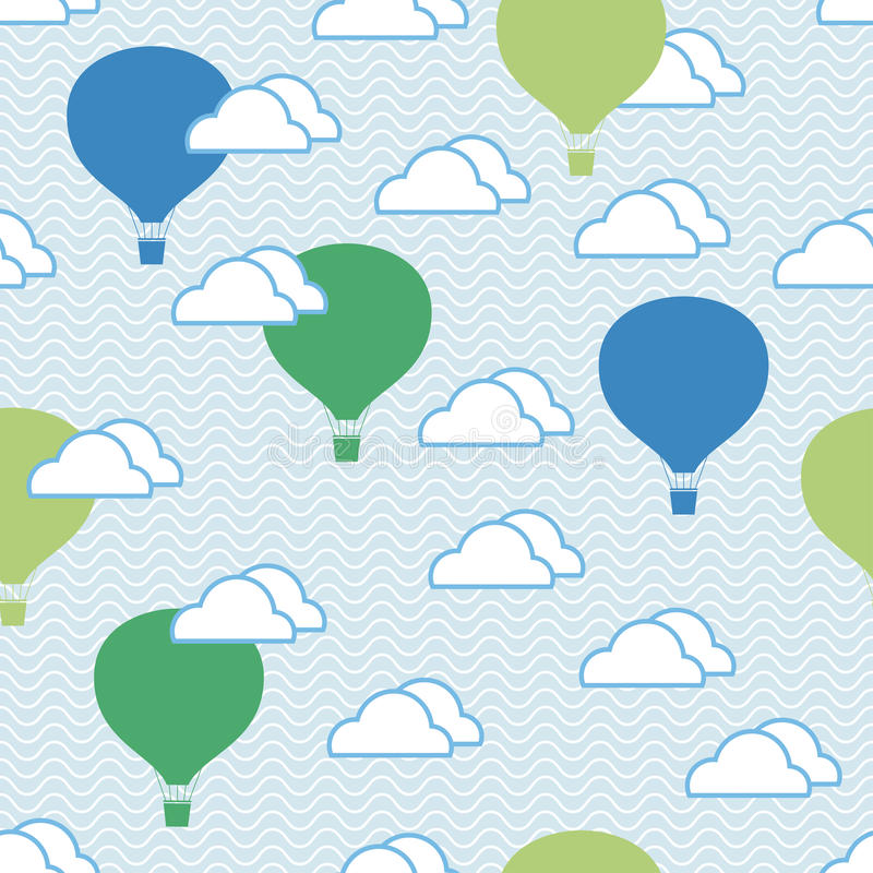 Seamless pattern of hot air balloons and clouds stock illustration