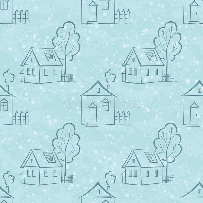 Download Seamless Pattern, Houses Contours And Trees Stock Vector - Image: 42387781