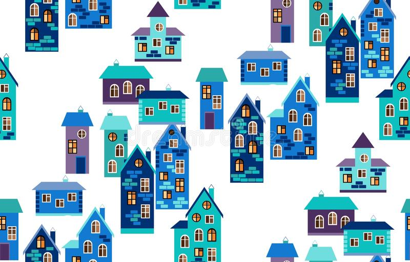 Seamless pattern with houses. Cute cartoon city map in blue tones. Vector illustration royalty free illustration