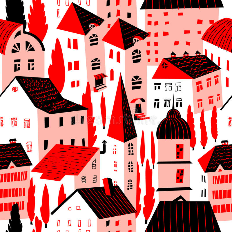 Seamless pattern with houses. Cute city vector illustration. Arc. Seamless pattern with houses. Cute town vector illustration. Architecture background with vector illustration