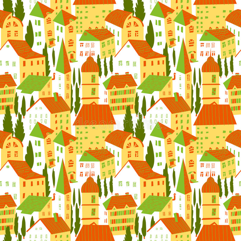 Seamless pattern with houses. Cute city vector illustration. Arc. Seamless pattern with houses. Cute town vector illustration. Architecture background with stock illustration