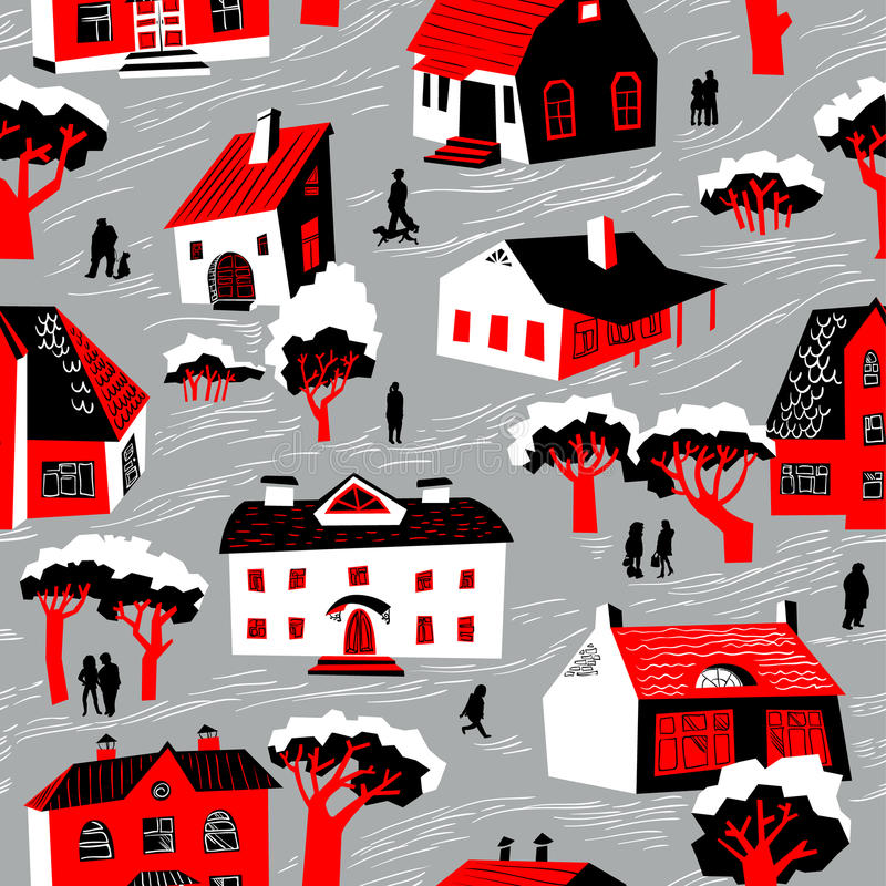 Seamless pattern with houses. Cute town vector illustration. Arc. Hitecture background with doodle cute buildings and trees and people. Simply cartoon drawing vector illustration