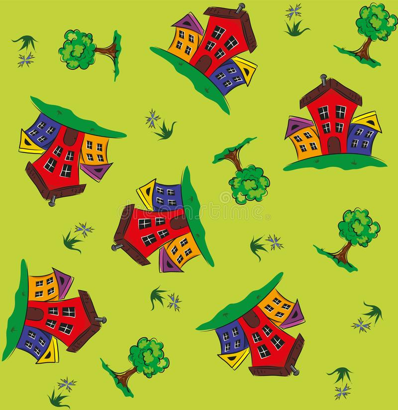 Seamless pattern with houses and trees stock illustration