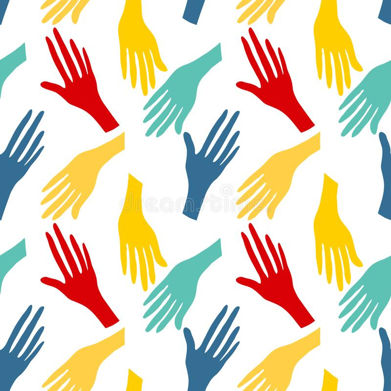 Seamless pattern with human hands. Colorful bright backround. Graphic print vector illustration