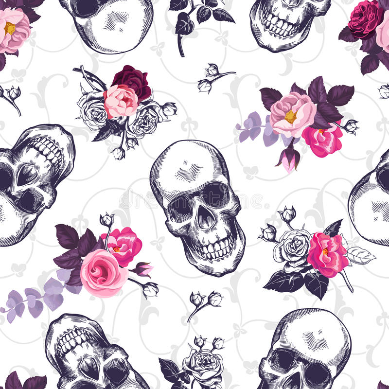 Seamless pattern with human skulls and half colored bunches of flowers in woodcut style and baroque ornament on. Background. Vintage backdrop. Vector royalty free illustration