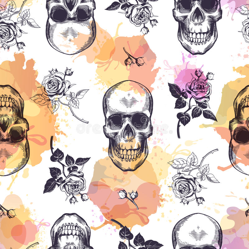 Seamless pattern with human skulls and roses drawn in etching style and translucent orange and pink stains. Creative. Kitschy backdrop. Vector illustration for royalty free illustration