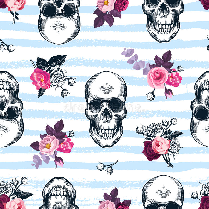 Seamless pattern with human skulls and semi-colored bunches of roses in etching style and blue horizontal paint traces on backgrou. Nd. Modern backdrop. Vector stock illustration