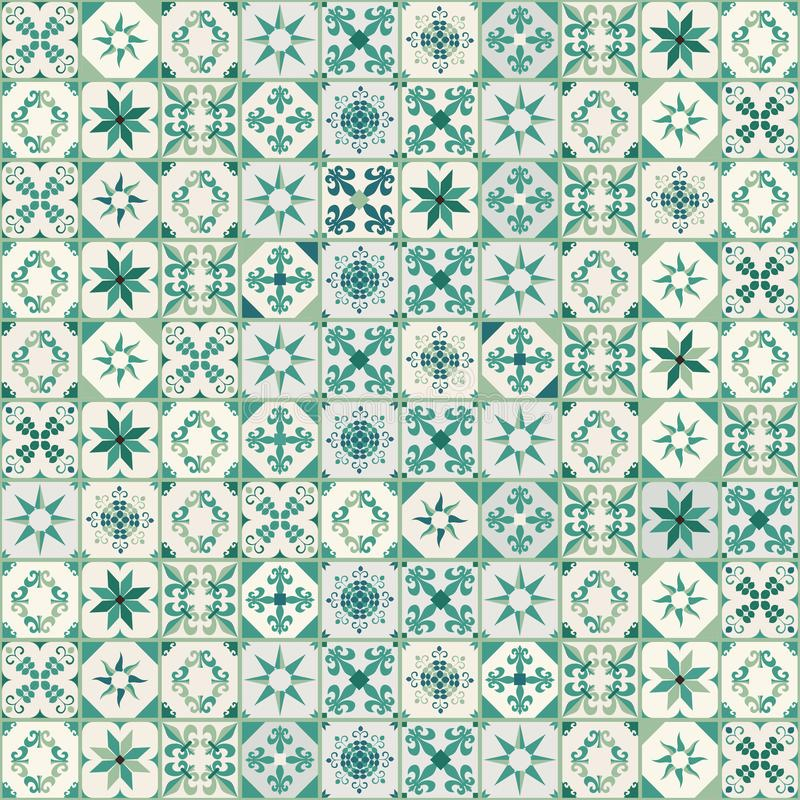 Seamless pattern of hydraulic tiles, typical of Spain, Italy and Portugal. vector illustration