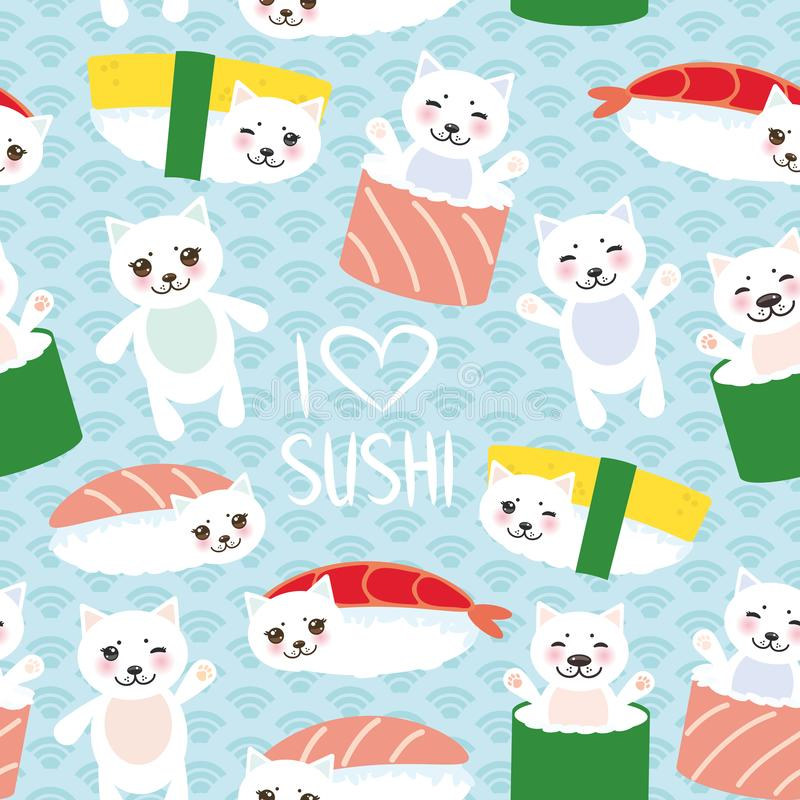 Seamless pattern. I love sushi. Kawaii funny Sushi set and white cute cat with pink cheeks and eyes, emoji. Baby blue background w. Ith japanese circle waves royalty free illustration