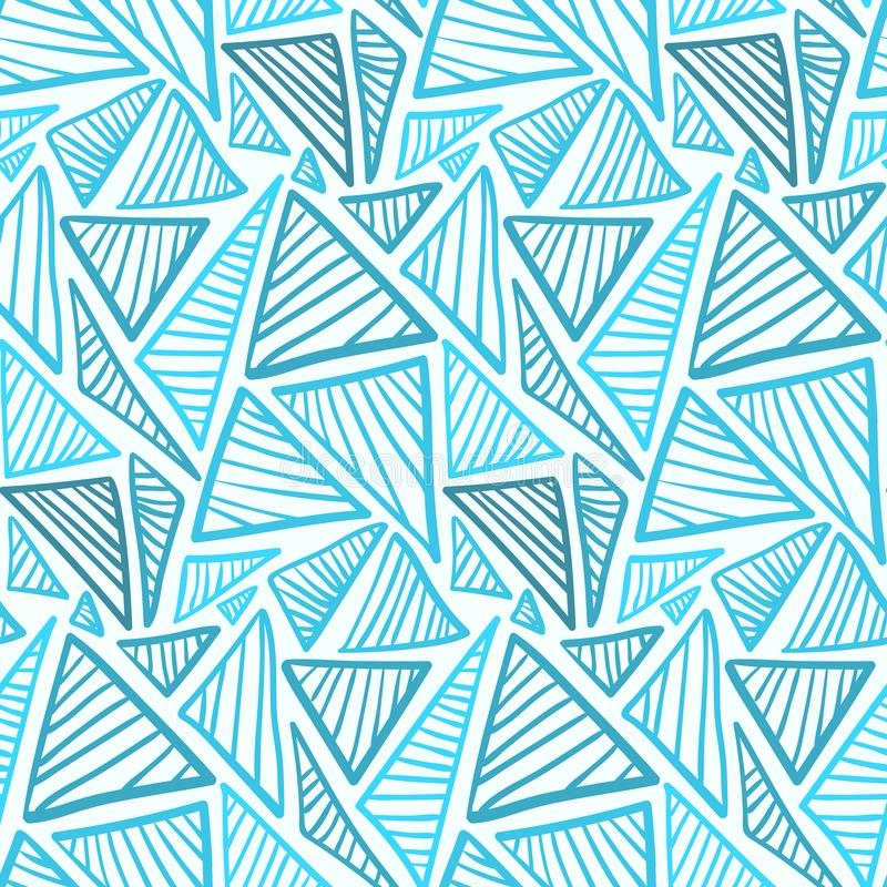 Seamless pattern with ice blue lined triangles vector illustration