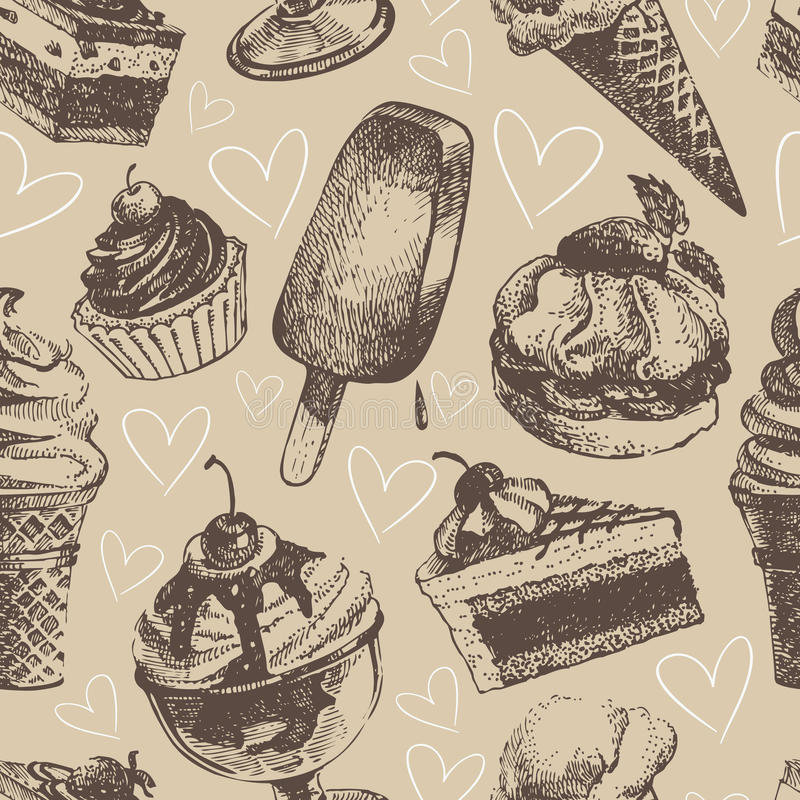 Seamless Pattern With Hand Drawn Watercolor Ice Cream: Seamless Pattern With Ice Cream And Cakes Stock Vector