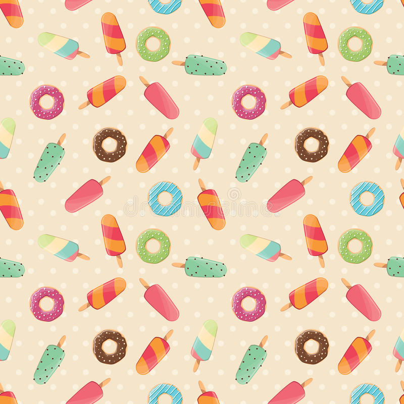 Seamless pattern with ice cream and colorful tasty donuts and ice cream royalty free illustration