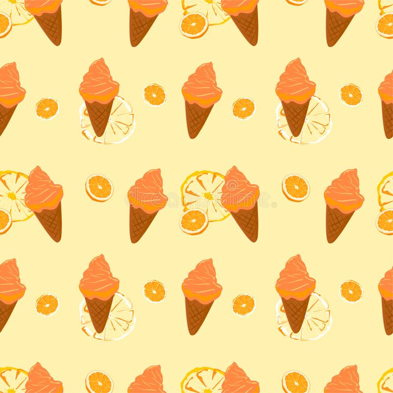 Seamless pattern ice cream cones deserts.Orange soft cream vector. The orange soft cream seamless vector wallpaper.for design wrapping printing and style royalty free illustration
