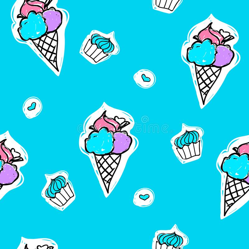 Seamless pattern with ice-cream, cupcake and heart shape on a blue background. Vector cartoon summer illustration. vector illustration