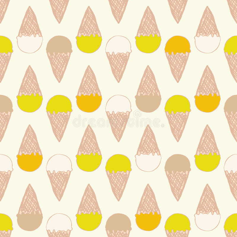 Seamless pattern with ice cream. Cute background in vintage retro style. Seamless vector illustration for stock illustration