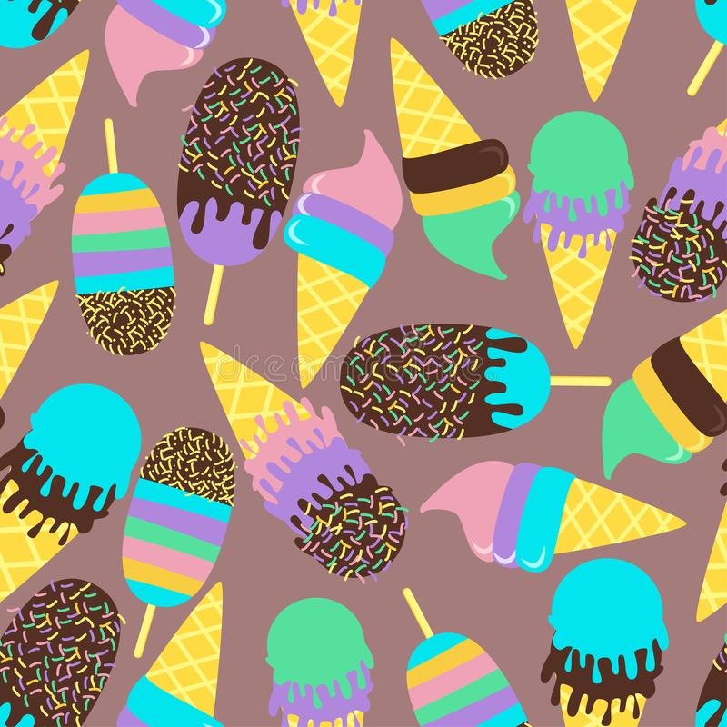 Seamless pattern with sweet ice cream in chocolate - vector illustration, eps. Seamless pattern with ice cream of different colors and tastes in waffle cones stock illustration