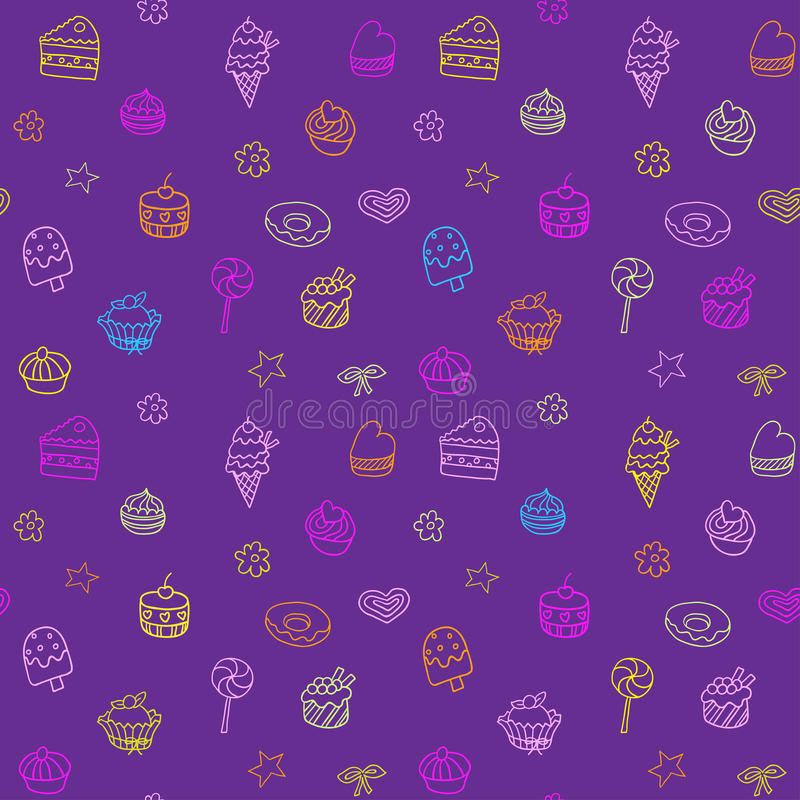 Seamless pattern with ice-cream, pie and cupcakes. Seamless pattern can be used for wallpaper, pattern fills, web page background, surface textures royalty free illustration